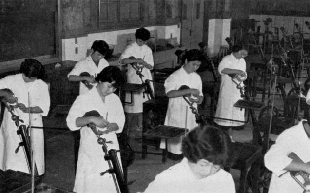 1955(昭和30)年、基礎実習の中に初めて取り入れたマネキン実習の様子(現在のマネキンとは違い、顔はなくスタンド式であった)。この実習では、歯科衛生士の主要業務であるスケーリングの技術訓練を行った。スケーラーの操作および患者との位置関係を身につけるために、必須の実習となっていた。