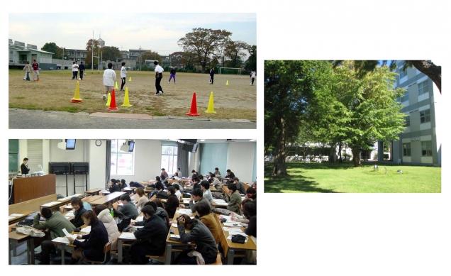 教養部のキャンパス風景(2002(平成14)年)。学部・学科の別なく全学生がともに学ぶ。平成23年度から医歯学融合教育を導入したことに伴い、現在では、全学科の学生が緑豊かな国府台キャンパスで1年間を過ごす。