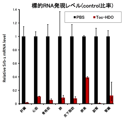 図4.ヘテロ2本鎖核酸の広汎な臓器での遺伝子抑制効果