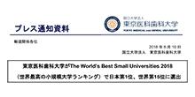 東京医科歯科大学がThe World's Best Small Universities 2018(世界最高の小規模大学ランキング)で日本第1位、世界第15位に選出